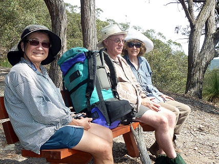 Bungonia revisited 2011, participants Irene Davies, Alan Vidler and Marg Roseby at top of Mt Ayre track,by Rupert Barnett