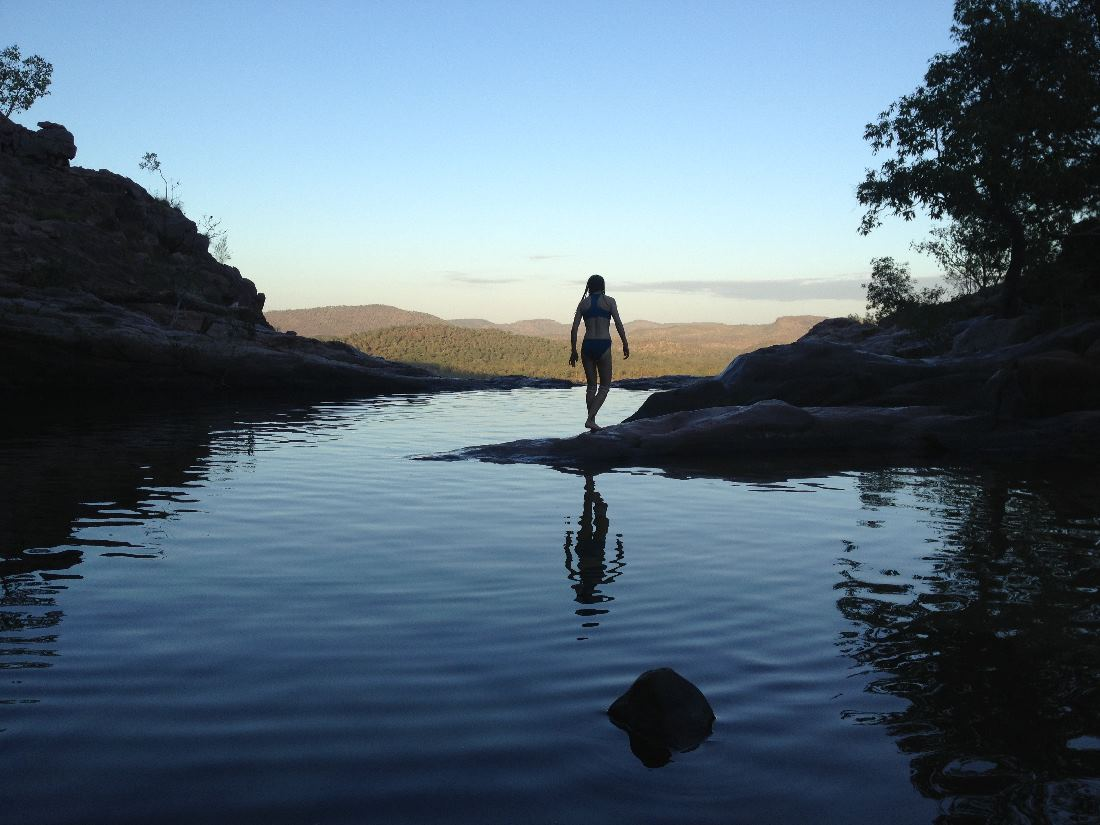 A dawn swim above Gunlom Falls, Kakadu, last morning